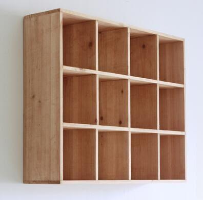 zakka實木裝飾架置物架格子架 收納架長方形壁掛架展示架