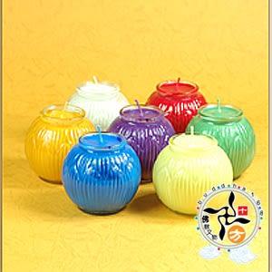 小七色蓮花酥油燈B2217(1盒7個) +招財進寶彌勒佛3D小佛卡【 十方佛教文物】