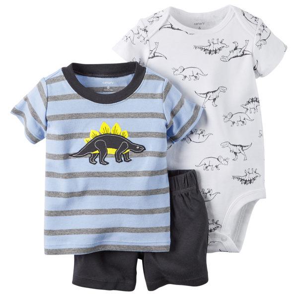 【美國Carter's】套裝3件組- 小恐龍短袖上衣+短褲+短袖包屁衣 121G398