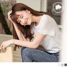 《AB9507-》高含棉造型花朵蕾絲拼接袖純色上衣 OB嚴選