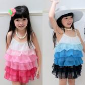 雪紡紗洋裝 漸層色 女童 連身裙 洋裙 連衣裙 吊帶裙 Augelute 42157