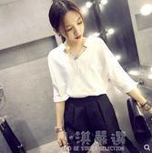 V領襯衫女短袖2018夏季新款韓版寬鬆百搭雪紡上衣蝙蝠袖白色襯衣『小淇嚴選』