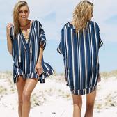 罩衫 直條紋 V領 綁帶 開衩 外搭 沙灘 比基尼 罩衫