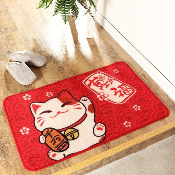 惠多招財貓地墊貓咪門墊進門地墊紅色喜慶門墊歡迎光臨墊防滑墊