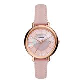 FOSSIL 知性優美日期時尚腕錶-玫瑰金X粉