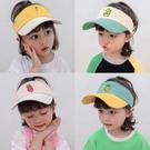拼色刺繡兒童網球空頂帽子男女童夏鴨舌遮陽帽寶寶小孩防曬太陽帽 璐璐