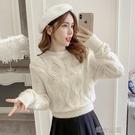 鏤空針織衫女年秋冬季裝時尚外穿套頭長袖麻花毛衣服快速出貨