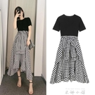 裙子女夏2021新款收腰氣質假兩件格子中長款不規則洋裝法式 米娜小鋪