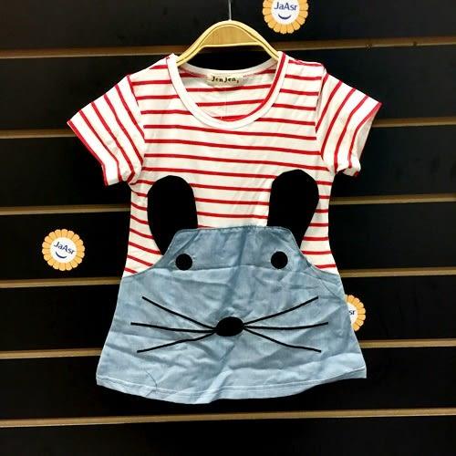 ☆棒棒糖童裝☆夏女童橫條小老鼠洋裝 5-15 藍;紅