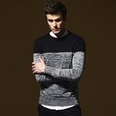 長袖針織衫-韓版修身圓領撞色男針織毛衣2色73ik42[時尚巴黎]