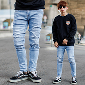 韓國製素面無破微刷色彈性淺藍牛仔褲【NB1129J】