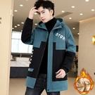 夾克外套加絨羽絨服 中長款加厚男生外套 冬季男士外套 韓版外套羽絨外套 工裝棉服男士棉衣