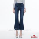 BRAPPERS 女款 新美腳系列-中低腰短版不收邊喇叭褲-藍