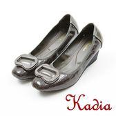 ★2017秋冬新品★kadia.經典優雅質感方扣楔型鞋(7549-88灰)