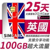 【TPHONE上網專家】英國 25天 100GB超大流量 4G高速上網 贈送當地通話 1000分鐘