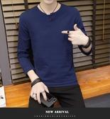 中國風男裝春季亞麻T恤中式復古上衣棉麻長袖純色t桖打底衫潮大碼 美芭