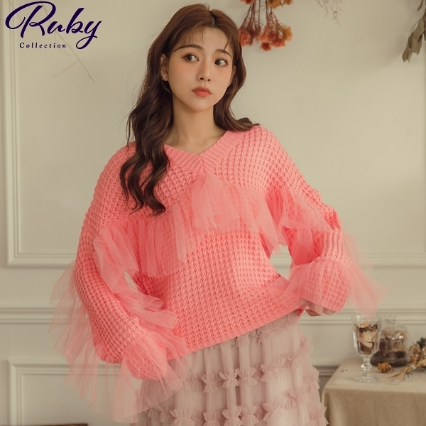 上衣 荷葉網紗鏤空針織長袖上衣-Ruby s 露比午茶