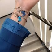 手鏈手鐲手飾藍色蝴蝶一字扣情侶閨蜜少女學生【極簡生活】