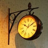歐式雙面靜音掛鐘藝術客廳鐵藝鐘表個性創意時鐘掛表石英鐘  igo 小時光生活館