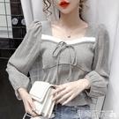 泡泡袖上衣 法式復古方領短款百搭襯衫女2020秋裝新款設計感小眾泡泡長袖上衣 伊蒂斯