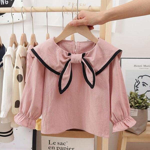 女童上衣 2021春季女童海軍風襯衫新款兒童洋氣娃娃衫韓版洋氣翻領上衣時髦 維多原創