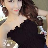 SISI【U6006】甜美小性感純色質感皺褶木耳邊修身平口上衣