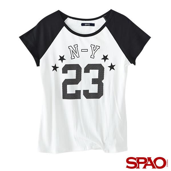 SPAO女款LOGO拼接棒球T恤-共2色