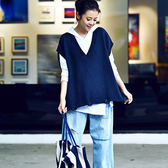 純棉針織馬甲 V領破無袖外套 短款毛衣背心-夢想家-0911