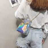 斜背包 鐳射小包個性鏈條水桶包單肩斜挎包【紐約周】
