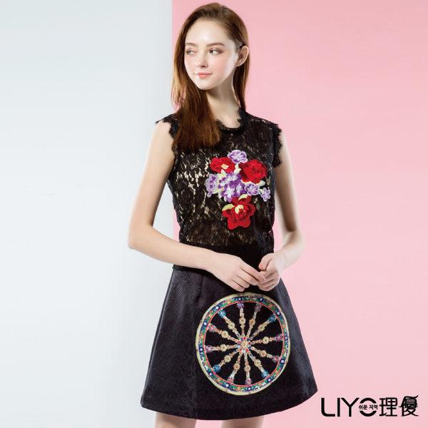 LIYO理優歐風蕾絲印花無袖洋裝626089