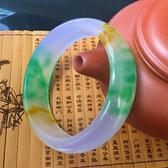 玉手鐲 天然翡翠色 紫羅蘭色石英巖玉手鐲 女士三色手鐲 翠玉手鐲 藍嵐