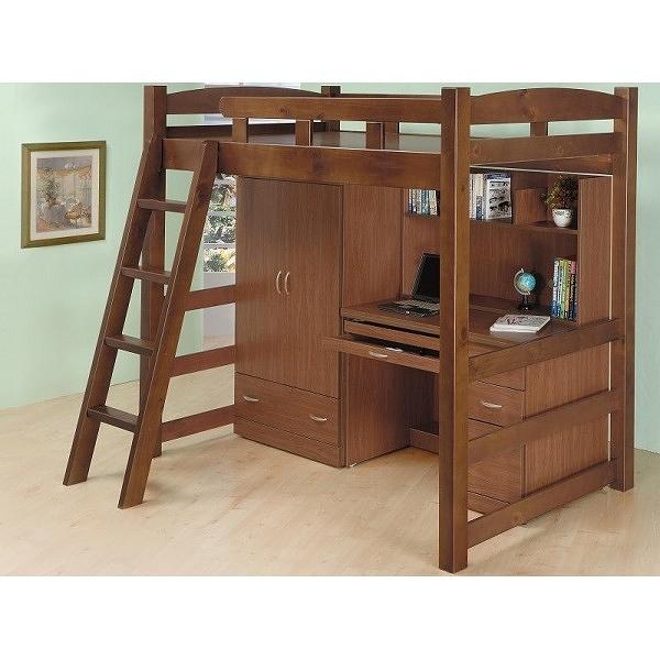 床架 高架床 FB-593-1 多功能淺胡桃高架床(不含床墊) 【大眾家居舘】