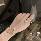 手鐲 歐美風小眾設計不規則誇張珍珠開口手鐲戒指女時尚手腕配飾潮