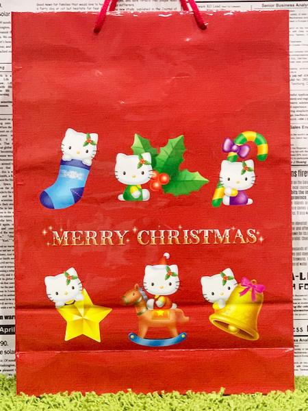 【震撼精品百貨】Hello Kitty 凱蒂貓~日本SANRIO三麗鷗KITTY紙袋/購物袋-聖誕紅*28853