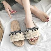 拖鞋 草編毛毛拖鞋女夏外穿新款時尚平底學生百搭防滑一字拖沙灘鞋 創想數位