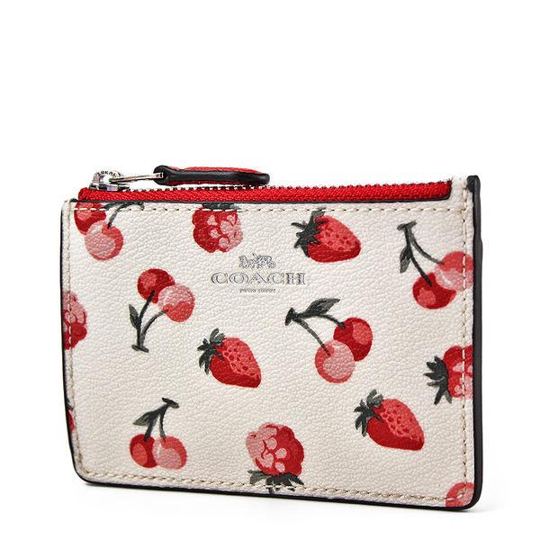 美國正品 COACH 水果圖案防刮皮革證件鑰匙零錢包-草莓/櫻桃【現貨】