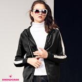 【SHOWCASE】休閒運動風袖白邊配色連帽針織外套(黑)