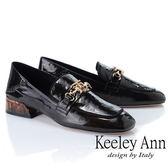 ★2019春夏★Keeley Ann復古時尚 水中花金屬軟漆皮樂福鞋(黑色)-Ann系列