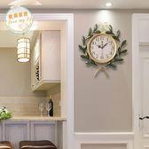 掛鐘田園創意藝術家庭時鐘客廳靜音鐘復古家用裝飾臥室大掛鐘錶jy【618好康八折】