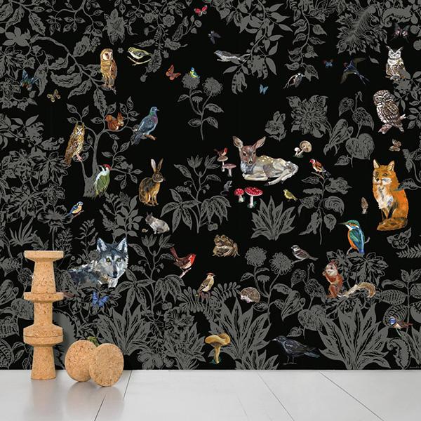 【進口牆紙】Domestic【訂貨單位372cm×3m/套(一套八張壁板)】動物法國 Foret Noire Nathalie Lete NDL041