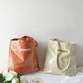 果凍包 韓國ins字母帆布透明包包夏季沙灘果凍包購物袋大容量側背女包 晶彩生活