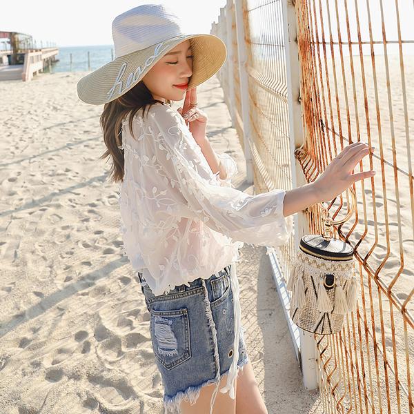 蕾絲雪紡衫流蘇開衫外搭 度假民族風波西米亞沙灘防曬衣女TBF10-B.1號公館