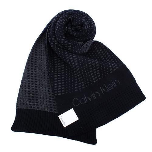 Calvin Klein新款CK雙色編織LOGO圍巾(深藍色)103212-6