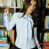 森奈健-OL綁帶長袖女襯衫(淺水藍條紋)。S-45EF