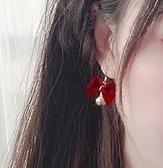 耳飾 紅色蝴蝶結鈴鐺純銀耳釘耳夾無耳洞聖誕節耳飾少女可愛甜美耳墜【快速出貨八折鉅惠】