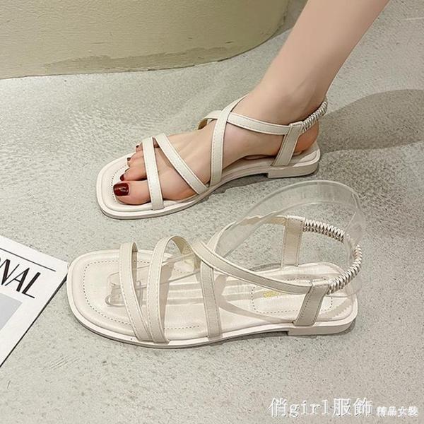 羅馬涼鞋 粗跟涼鞋女2021年新款夏季時尚百搭韓版仙女風ins潮女士羅馬鞋子 開春特惠