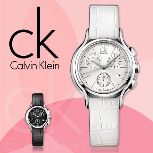 CK手錶專賣店 K2U291L6 女錶 三眼計時 碼錶 白面 石英 礦物強化玻璃鏡面 皮錶帶