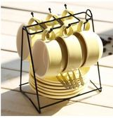 X-歐式下午茶陶瓷家用咖啡杯帶碟勺杯架禮盒套裝簡約骨瓷馬克水杯子【黃色/6杯裝/主圖】