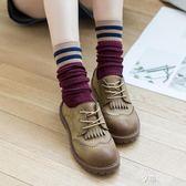 堆堆襪女韓國日系女中筒襪學院風二杠條紋長襪純棉中筒襪子女 享購