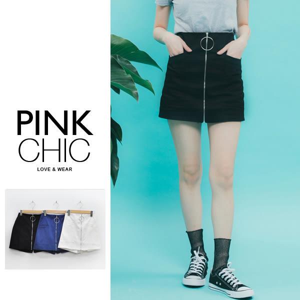 褲裙 金屬大圓拉鍊口袋褲裙/短褲/短裙 - PINK CHIC - 23606